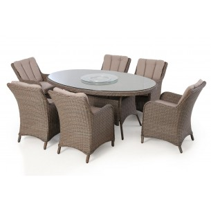 Harrogate 6 seat oval dining with lazy susan