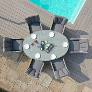 Ascot  6 seat oval dining with lazy susan